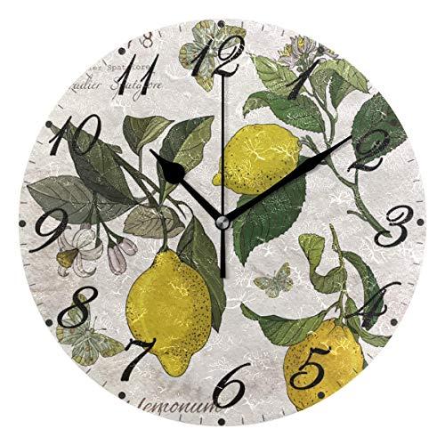 Retro limón Flores Pared Reloj silencioso sin tictac, Relojes de limón operado...