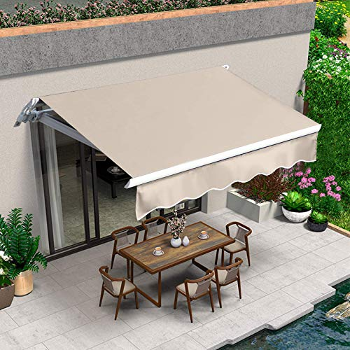 VUYUYU 6.6'x5' Patio Awning Retractable Awning Cover Door Window Sunshade Shelter Outdoor Canopy with Crank Handle and Water-Resistant Polyester for Courtyard, Balcony, Shop, Restaurant, Cafe, Deck