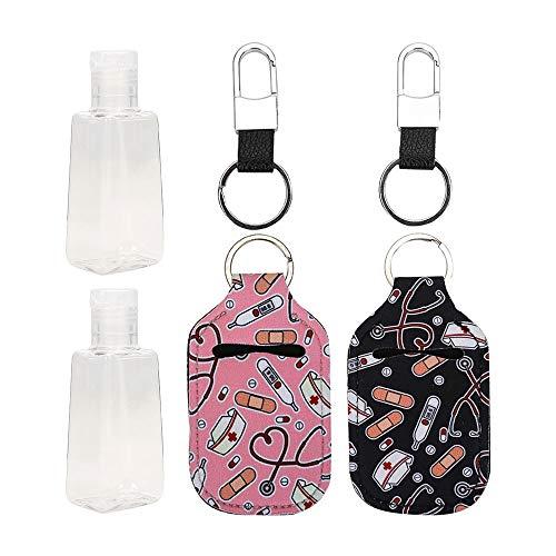 CNSSKJ - Botella portátil de tamaño de viaje, a prueba de fugas, de plástico, con bolsa de neopreno, contenedores para jabón, loción y líquidos, para niños, hombres y mujeres