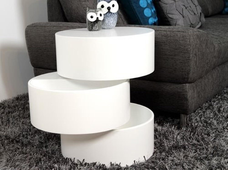 Lifestyle4living Couchtisch in Wei Matt lackiert  Sofa-Tisch mit Aufbewahrungsfunktion  moderner Beistelltisch mit drehbaren Elementen