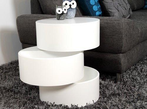 lifestyle4living Couchtisch in Weiß Matt lackiert | Sofa-Tisch mit Aufbewahrungsfunktion | moderner Beistelltisch mit drehbaren Elementen