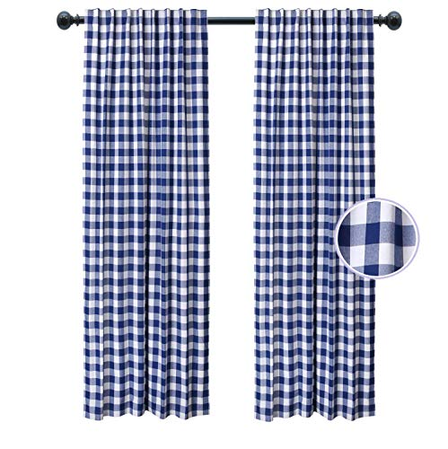 Kitchen Window Curtain Panel, Bedroom Window Curtains, Reverse Window Panels, Cotton Check Curtain, 100% Pure Cotton Gingham Reverse Tab Top Window Panels -50x63 Inch - Navy White - Set of 2 Panels