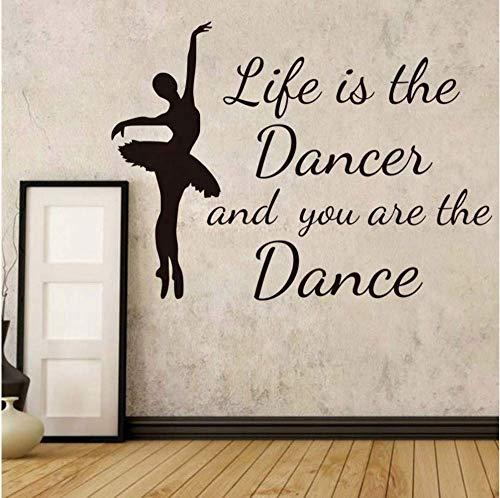 Das Leben ist die Danze und Sie sind der Tanz muurstickers wooncultuur kinderkamer elegante ballerina danseres silhouet muurtattoos, 60 x 44 cm