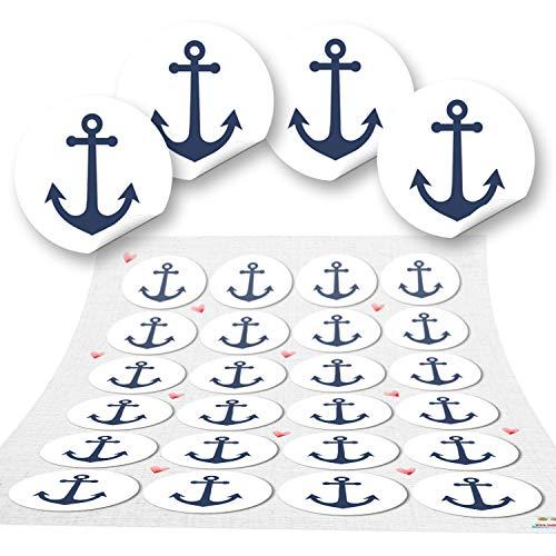 Logbuch-Verlag 72 Runde Anker Aufkleber blau weiß navy maritim Sticker Etiketten Geschenk-Aufkleber basteln Gastgeschenk give-away Deko Fest Verpackung Mitgebsel