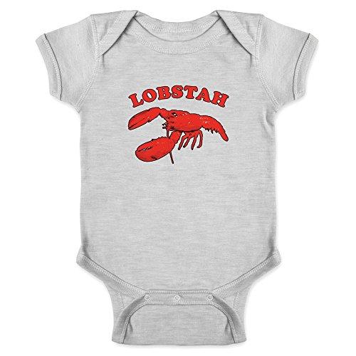 Pop Threads Lobstah Maine Lobster New England Boston Funny Gray 6M Infant Baby Boy Girl Bodysuit