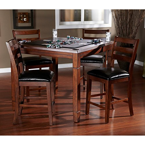 American Heritage Billiards AHB Rosa 5 Piece Dining/Game Table Set with Flip Top - Mocha