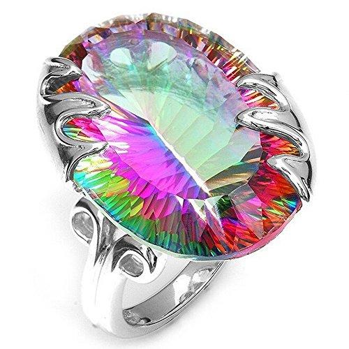 Frau Sieben Farbe Mystic Rainbow Topaz Juwel Ring Mode Ehering