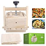 Inkesky Tofu Cheese Maker & Press with Cloth, 2-In-1 Kit, Made Of Wood