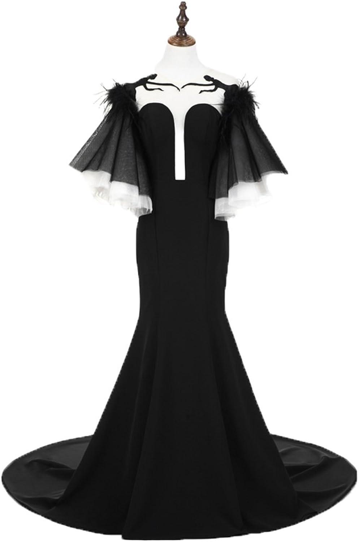 Graceprom Elegant Black Mermaid Evening Dress Short Sleeves Prom Dress