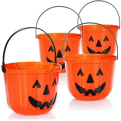com-four® 4X Cubo de Calabaza de Halloween - Cubo de plástico con diseño de Calabaza para recolectar Dulces - Bolsa de colección con asa para Halloween (04 Piezas - 15x19 cm)
