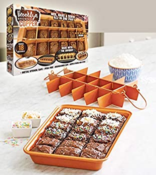 Brooklyn Brownie Copper by GOTHAM STEEL Nonstick Baking Pan with Built-In Slicer Ensures Perfect Crispy Edges Metal Utensil and Dishwasher Safe