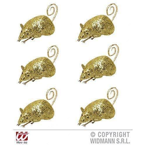 Lively Moments 6 Souris / Rats Couleur Or Scintillant Env. 12 cm / Décoration de Halloween / Décoration de Table/Salle de Séjour Déco