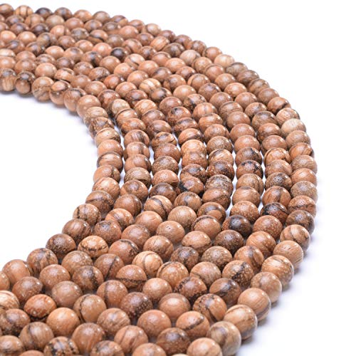 MOFRGO 200pcs 8mm Natural Round Polished Rosewood Loose Beads for Jewelry Making DIY Handmade Craft (Vietnamese Sandal Wood)