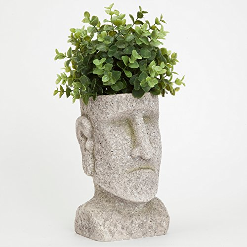 Bits and Pieces - Indoor/Outdoor Easter Island Statue Planter - Urn for Plants - Durable Polyresin Sculpture