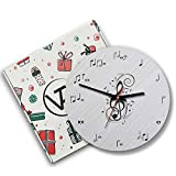 12 Inch Silent Battery Operated Musical Notes Wood Wall Clocks Birthday Music Teacher Gifts for Men...