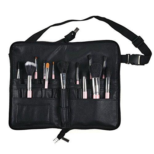 BestFire Profi Make-up Pinsel Tasche Tasche Portable 22 Taschen Kosmetik Pinsel Halter Organizer mit Künstler Gürtel Strap PU Leder (Pinsel nicht enthalten)