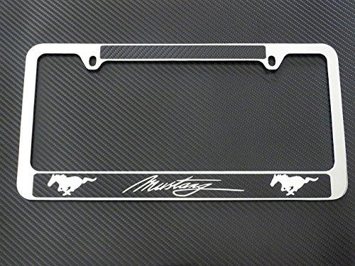 AtoZCustoms Ford Mustang License Plate Frame Chrome Metal, Carbon Fiber Details