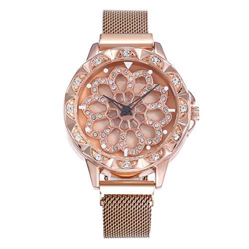 VEADK Damenuhr Rose Gold Watch WomenDegrees Rotation Diamond Dial Uhren Mesh Magnet Sternenhimmel Damenuhr Quarz, Bronze