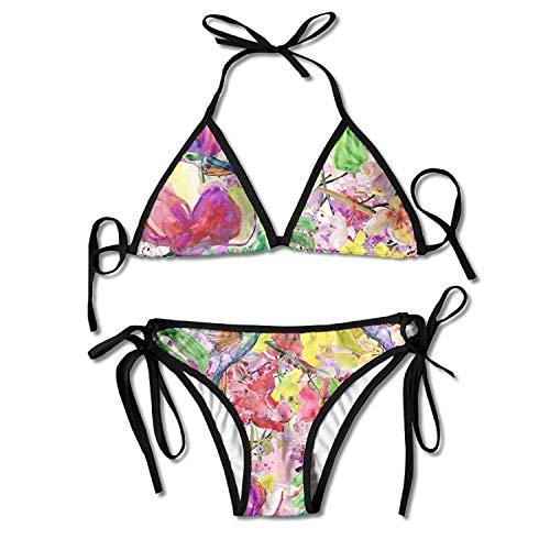 Sofa pillow Spechte malen mit Blumen Bikini Damen Sommer Badebekleidung Triangle Top Bikinis Badeanzug Sexy 2-teiliges Set