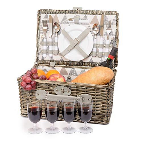 Miyagi Tea Europe 4 Personen traditioneller klassischer britischer Picknick-Korb aus Weidenkörben - mit Keramiktellern, Plastikgläsern, Besteck, Flaschenöffner und Besteck