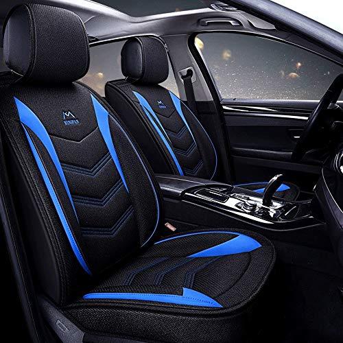 Babycool voor en achter katoen en linnen stof comfort beschermer kussen auto stoelhoezen, 5 stoel volledige set universele compatibele airbags Zwart Blauw