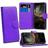 Nokia 6 2018 6.1 Cases - Purple Premium Wallet Leather Flip