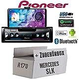 Mercedes SLK R170 - Autoradio Radio Pioneer SPH-10BT - Smartphone Empfänger mit Bluetooth | Spotify | Android | iPhone | 4x50Watt Einbauzubehör - Einbauset