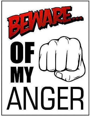 Letrero decorativo con texto en inglés 'Beware Of My Anger', 20,3 x 30,4 cm, diseño retro, para el hogar, cocina, baño, granja, jardín, garaje, citas inspiradoras, decoración de pared