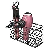 mDesign porte sèche-cheveux en métal – panier de rangement pour salle de bain avec 3 compartiments – module de rangement multifonction pour brosses, fer à boucler, lisseur, etc. – noir