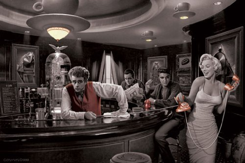 Poster Consani: Marilyn Monroe, James Dean & Co. in der Bar - Größe 61 x 91,5 cm - Maxiposter