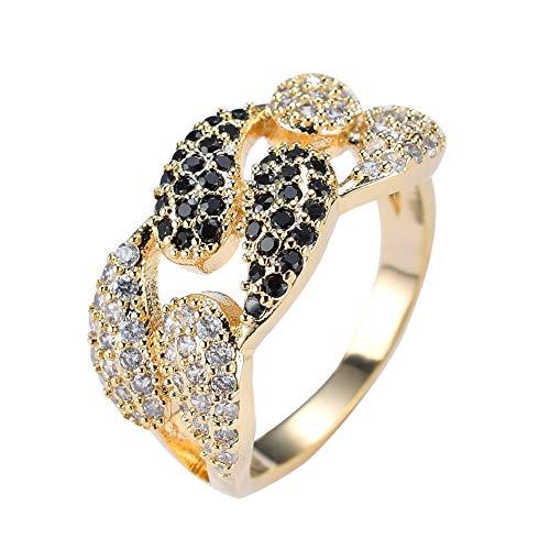 LC8 Jewelry Anillo para hombre chapado en oro de 18 quilates con circonita cúbica de diamante negro con diseño de circonita