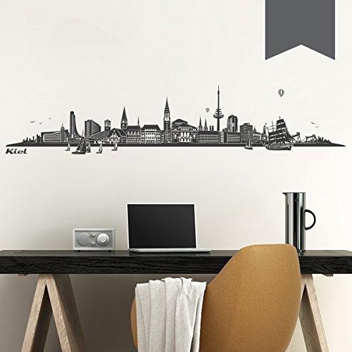 WANDKINGS Wandtattoo Skyline Kiel 160 x 32 cm - Dunkelgrau - 35 Farben zur Wahl