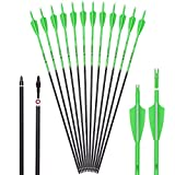 ELONG OUTDOOR Carbon Arrow Hunting Target Practice Arrows 28 Inch with Removable Tips for Compound & Recurve Bow Spine 500 Fluorescence Color (Pack of 12)