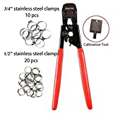 SENTAI PEX Crimping Stripping Cutting Tool - Wire Cable Pipe Stripper Crimper and Cutters for Pex Stainless Steel Clamps from 3/8' to 1' with 1/2' Includes 20pcs and 3/4' 10pcs SS PEX Clamps