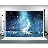 HDJSCTWCLトゥインクルスター月の背景銀河写真の背景10x7ftパーティーバナー写真ブーススタジオ小道具0602
