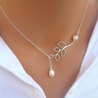 Lzz Women's Simple Silver Leaf Pearl Pendant Tassel Alloy Short Necklace Olive Leaf Branch Pearl Adjustable Necklace