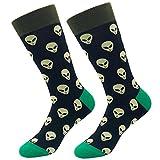 KoolHour Men's Alien Socks ET Novelty Funny Crazy Weird Joke Fashion Patterned Mid Calf Tube Cotton Casual Dress Crew Socks,1 Pair,Black Green