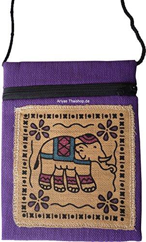 Ariyas Thaishop Brustbeutel aus Baumwolle mit Elefant; 13 x 16,5 cm (b x h)