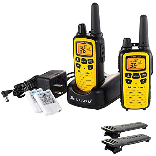 Midland - LXT630VP3, 36 Channel FRS Two-Way Radio - Up to 30 Mile Range Walkie Talkie, 121 Privacy Codes, & NOAA Weather Scan + Alert (Pair Pack) (Yellow/Black). Buy it now for 49.99