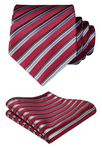 HISDERN Extra lange gestreifte Krawatte Taschentuch Herren Krawatte & Einstecktuch Set (Rot & Grau)