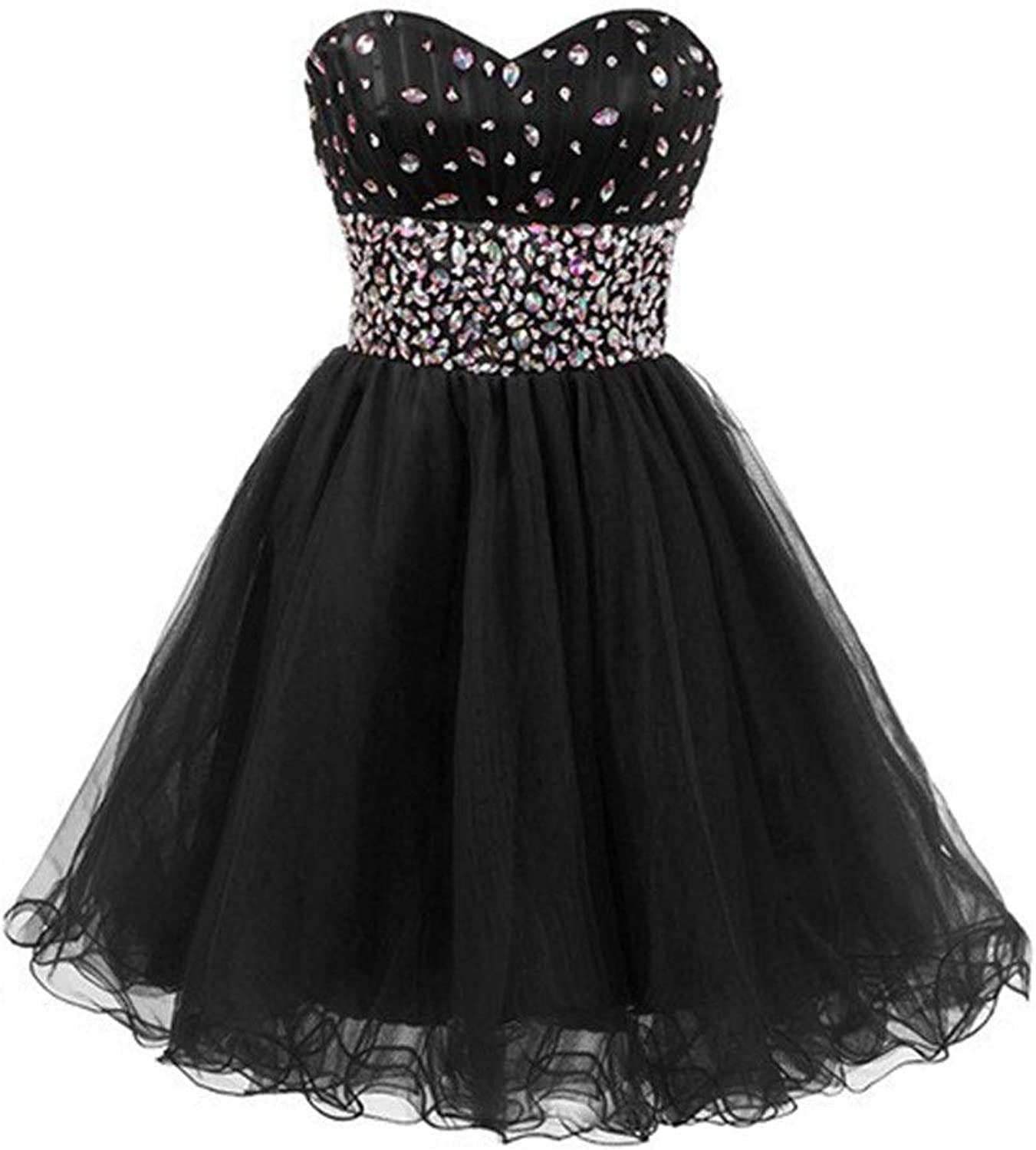 Bridesmaid Dress Women's Tube Top Beads Vintage Collection Small Dress Short Dress Sexy Dress for Cocktail Party (color   Black, Size   US10)
