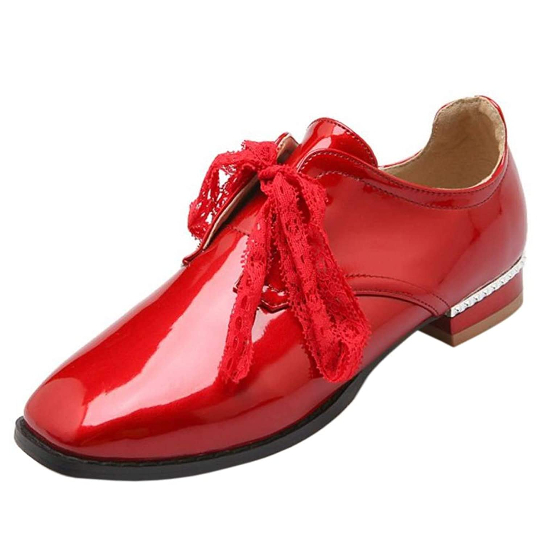 [RizaBina] レディース ファッション レースアップ シューズ スクエアトゥ ローヒール 靴