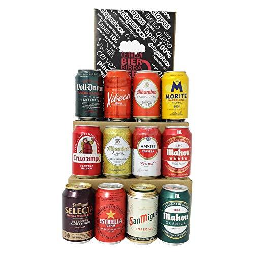 Spanisches Bier - Geschenke, 12 Dosen 330 ml, San Miguel, Cruz Campo, Estrella, Moritz