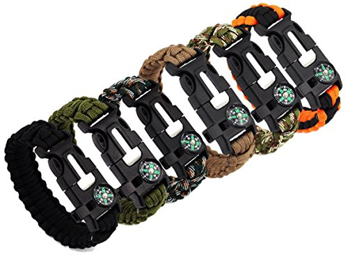 Bestsupplier Paracord Bracelet Kit Outdoor Survival Bracelet Camping Hiking Gear with Compass, Fire Starter, Whistle and Emergency Knife, 6 Piece