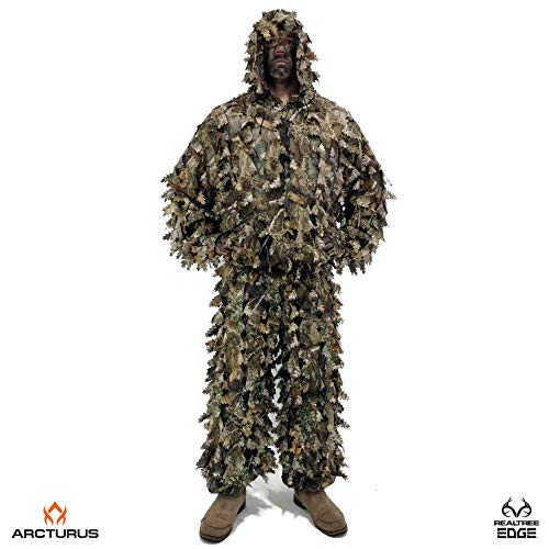 Arcturus 3D Realtree Edge Ghillie Suit - Over 1,000 Laser-Cut Leaves | Lightweight, Breathable Camouflage for Hunting, Paintball & Airsoft (Realtree Edge, M/L)