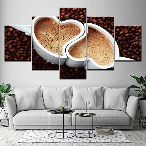 Rkmaster-schildersdoek, tekening, twee kopjes, hartvormige koffie, 5 stuks, muurkunst, schildering, modulaire behang, posters, print, woonkamer decoratie