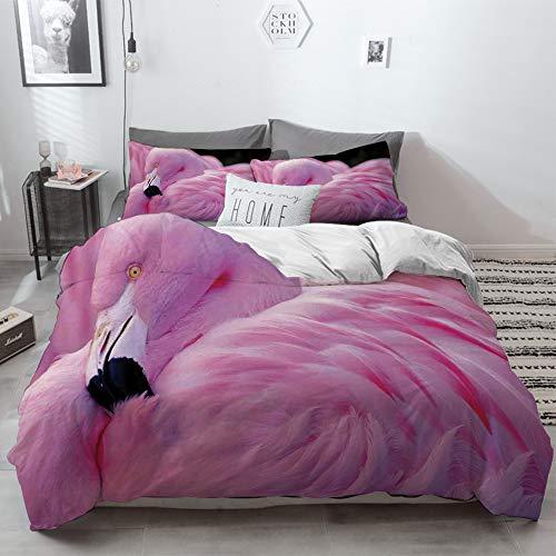 Big horn deer 3 Piezas Bedding Juego de Funda de Edredón,Flamingo, Royal Flamingo chileno con el Color del Amor Romance Animal Salvaje Natural,Funda Nórdica Microfibra - Suaves y cómodas,200 x 200cm