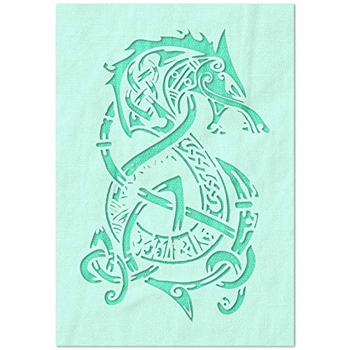 Stencil Stop Celtic Dragon Stencil - Reusable for DIY Projects, Painting, Drawing, Crafts - 14 Mil Mylar Plastic (7.75 x 12 inches)