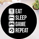 QNNN Divertido Eat Sleep Game Repeat Gaming Alfombra Redonda Alfombra para área de Jugador Alfombra de Goma Lavable Alfombra de Videojuegos Silla Decoración para el hogar Regalo-UNA_60