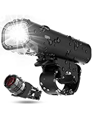 Updated Version Bike Light Set, USB Rechargeable Waterproof Runtime 8+ Hours 400 Lumen Super Bright Headlight Front Lights and Back Rear LED, 4 Light Mode Fits All Bicycles, Mountain, Road (Black)